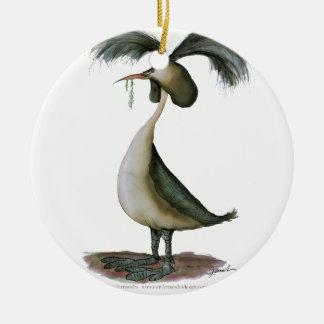 gran pájaro salvaje del grebe con cresta, adorno navideño redondo de cerámica
