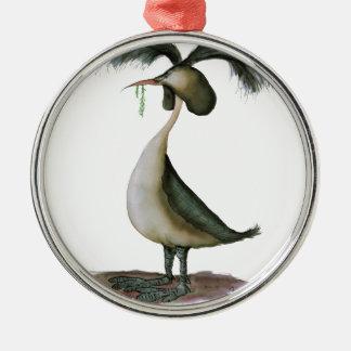 gran pájaro salvaje del grebe con cresta, adorno navideño redondo de metal