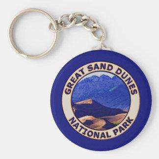 Gran parque nacional de las dunas de arena llavero redondo tipo pin