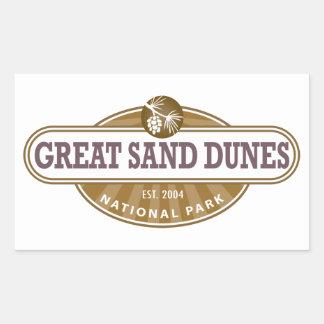 Gran parque nacional de las dunas de arena pegatina rectangular