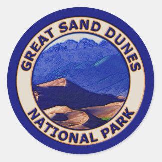 Gran parque nacional de las dunas de arena pegatina redonda