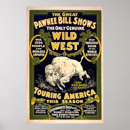 Gran Pawnee Bill1903 - oeste salvaje del vintage Póster