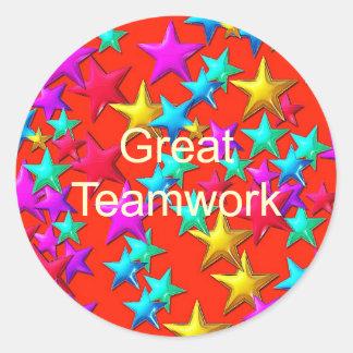 Gran pegatina de la estrella del trabajo en equipo