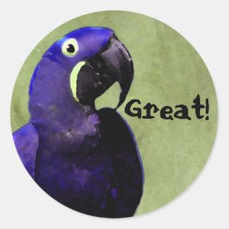 GRAN pegatina de la recompensa con el loro azul