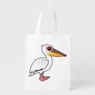 Gran pelícano blanco de Birdorable Bolsas Reutilizables