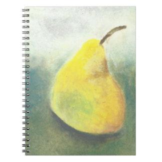 Gran pera amarilla grande libro de apuntes con espiral