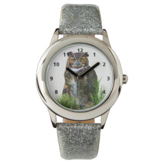 Gran personalizable del búho de cuernos relojes