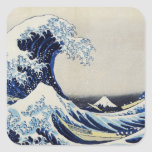 Gran pintura de la impresión de la onda de Hokusai Pegatina Cuadrada