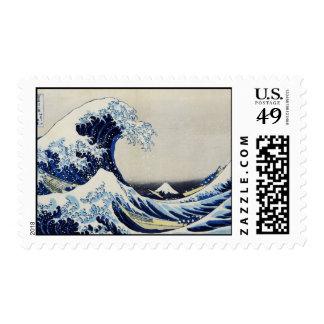 Gran pintura de la impresión de la onda de Hokusai Sello Postal