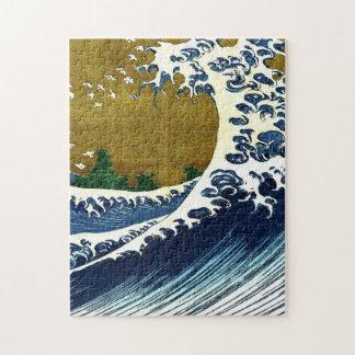 Gran pintura de la onda del vintage a partir de puzzle