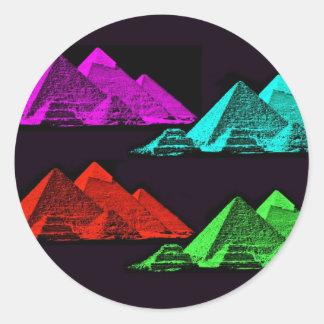 Gran pirámide del collage de Giza Etiquetas Redondas