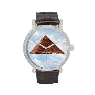 Gran pirámide - reloj de la correa de cuero del