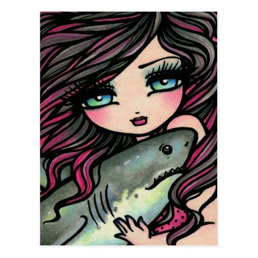 Gran postal del arte de la fantasía de la sirena d