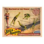 Gran poster del circo de la demostración del trape postal