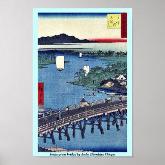 Gran puente de Senju por Ando, Hiroshige Ukiyoe Póster