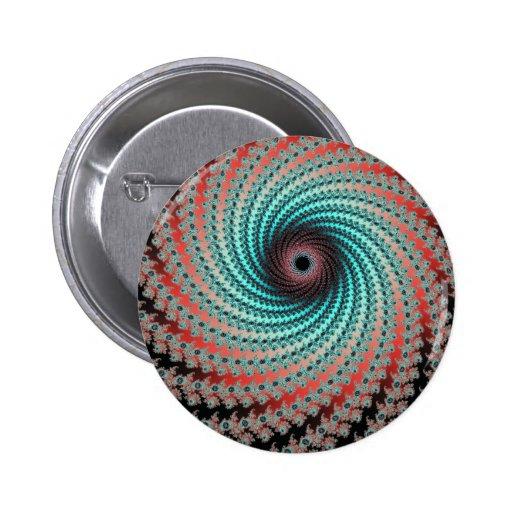 Gran remolino hipnótico - diseño del fractal pin redondo 5 cm