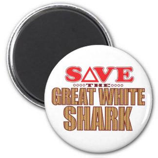 Gran reserva del tiburón blanco imán redondo 5 cm