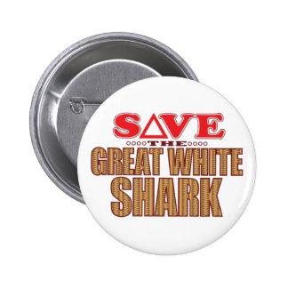 Gran reserva del tiburón blanco pin redondo de 2 pulgadas