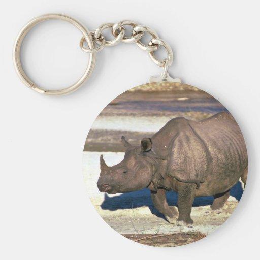 Gran rinoceronte Uno-De cuernos indio Llavero Redondo Tipo Pin