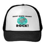 Gran roca de los tiburones blancos gorros