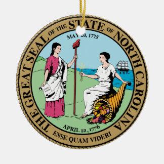 Gran sello de Carolina del Norte Adorno Redondo De Cerámica