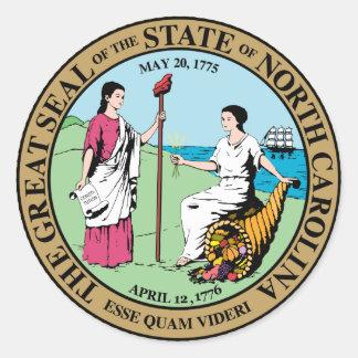 Gran sello de Carolina del Norte Etiquetas Redondas
