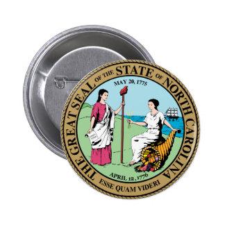 Gran sello de Carolina del Norte Pin Redondo 5 Cm