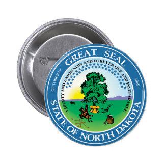 Gran sello de Dakota del Norte Pin Redondo De 2 Pulgadas