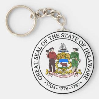 Gran sello de Delaware Llavero Redondo Tipo Pin