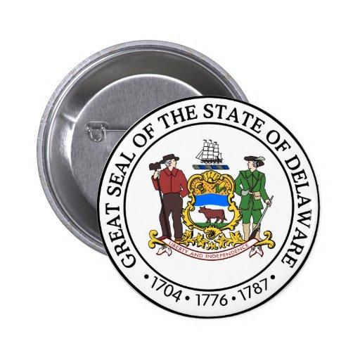 Gran sello de Delaware Pin Redondo De 2 Pulgadas