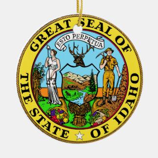 Gran sello de Idaho Adorno Navideño Redondo De Cerámica