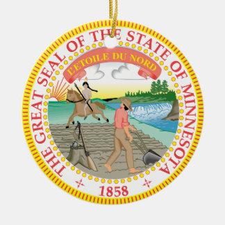 Gran sello de Minnesota Adorno Navideño Redondo De Cerámica