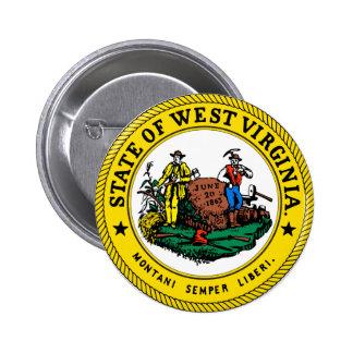 Gran sello de Virginia Occidental Pin Redondo 5 Cm