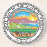 Gran sello del estado de Kansas Posavasos Personalizados