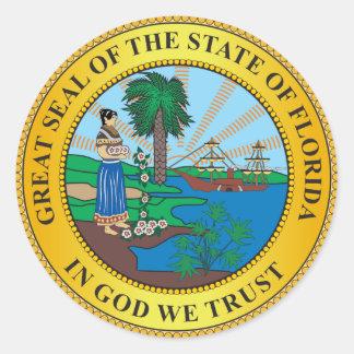 Gran sello del estado de la Florida Pegatina Redonda