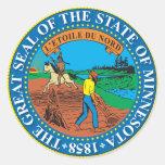 Gran sello del estado de Minnesota Pegatina Redonda