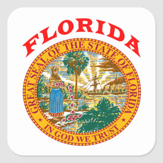 Gran sello del estado la Florida Pegatina Cuadrada