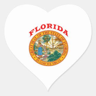 Gran sello del estado la Florida Pegatina En Forma De Corazón
