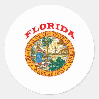 Gran sello del estado la Florida Pegatina Redonda