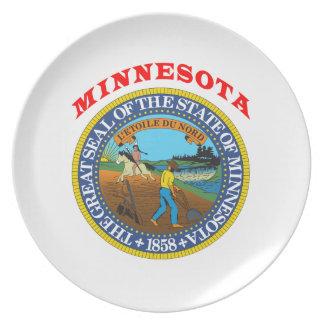 Gran sello del estado Minnesota Plato De Cena