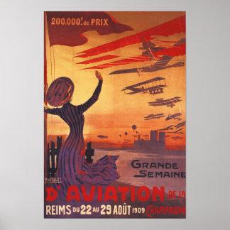 Gran semana de la aviación - poster que agita de l