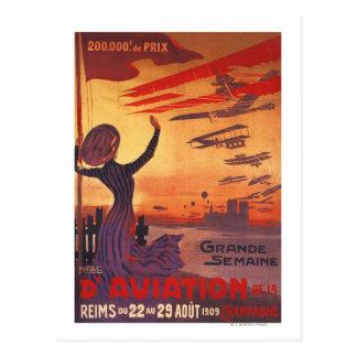 Gran semana de la aviación - poster que agita de postal