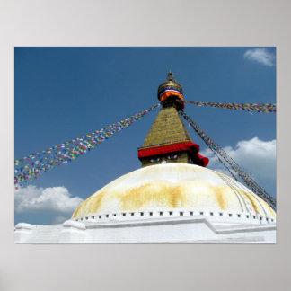 Gran Stupa de Boudha, Katmandu, Nepal Póster