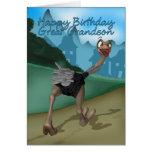 Gran - tarjeta de cumpleaños del nieto - avestruz