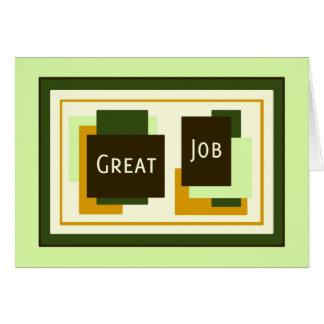 Gran tarjeta de trabajo del aprecio verde del empl