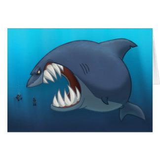 Gran tarjeta del tiburón blanco (espacio en blanco