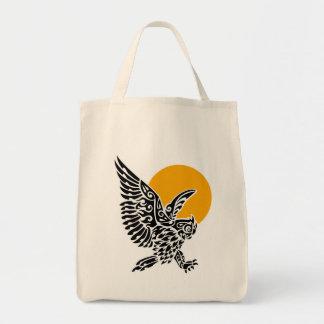 Gran tatuaje tribal del búho de cuernos bolsa tela para la compra