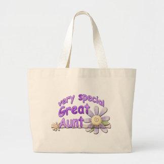 Gran tía muy especial Flower Bolsa Tela Grande