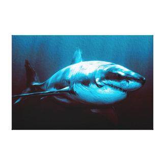 Gran tiburón blanco Batalla-Marcado con una Impresion De Lienzo