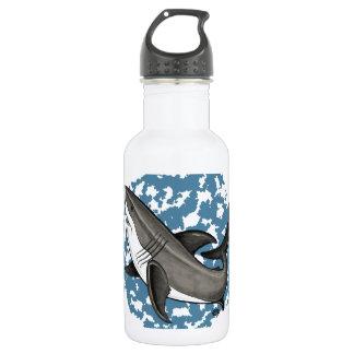Gran tiburón blanco de salto botella de agua